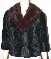 VINTAGE Black Faux Sheared Mink Short Jacket Brown Mink Fur Collar S