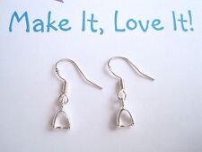 1 PAIR x 925 STERLING SILVER EAR HOOK WIRES WITH HANGER BAIL 22mm Earring