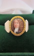 Museum Quality Ca. 1660's Antique Hand painted Miniature portrait 9k gold ring