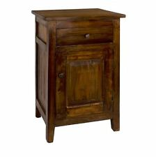 Small Accent Table End Side Nightstand Rustic Wood with Door Shelf Drawer Brown