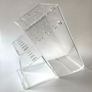 """Clear Acrylic Knife Holder Rack Stand Modern 11"""" H  Plastic holds 15 Counter"""