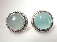 Chalcedony Round w/ Rope Style Accents 925 Sterling Silver Stud Earrings