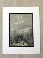 1870 Antik Aufdruck Viktorianisch Engel Schlange Dantes Paradiso Gravierung
