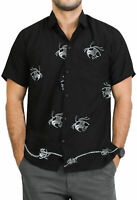 LA LEELA Men's Relaxed Golf Hawaiian Shirt Beach Camp Aloha Shirt S Black_W773