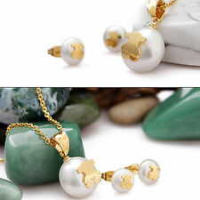 316L Stainless Steel pearl GP Bear Earrings Pendant necklace jewelry Set T546G