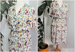 Vintage 80s Red & Green Floral & Leaf Floral Pockets midi Dress Size 12
