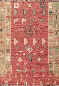 Tribal Geometric Moroccan Oriental Area Rug Hand-knotted Wool 8x11 ft Red Carpet