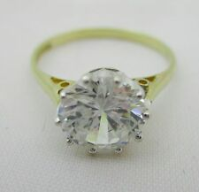 9 Carat Gold CZ Solitaire Ring Size L