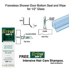 """Shower Door Dual Durometer PVC Seal & Wipe for 1/2"""" Glass - 32"""" long w/ Shampoo"""