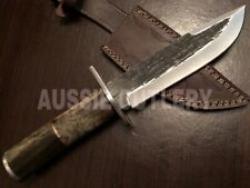 """13"""" AUSSIE CUTLERY CUSTOM MADE D2 HAND PEENED BLADE HUNTING COMBAT BOWIE KNIFE"""