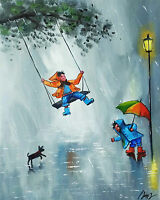 100%HAND-PAINTED ART ACRYLIC OIL PAINTING HAPPY RAIN CANVAS SIGNED 16X20INCH