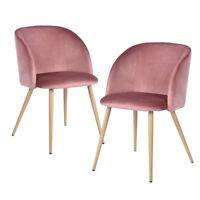 2er Set Rosa Silky Samt Akzent Sessel für kleine Küche Esszimmer Büro Schule NEU