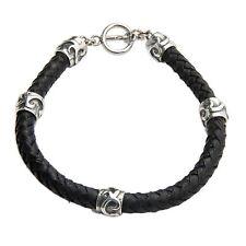 Men's Leather Bracelet Black with Silver 925 'Warriors Fortune' NOVICA Bali
