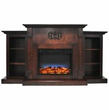 72 In. Electric Fireplace in Mahogany with Bookshelves and Flame