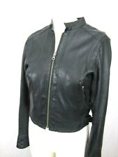 TRUE RELIGION Black Leather Jacket SP 100% Lamb Skin Glove Soft Leather moto