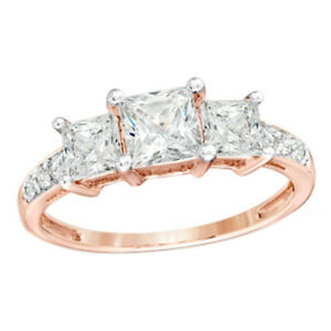Princess Simulated Diamond Three Stone Engagement Wedding Ring In 10K Rose Gold