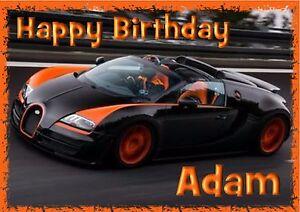 Bugatti veyron sports car personalised A5 Birthday Card Son Dad brother Nephew