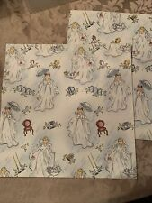 Vtg Bride Wedding Shower Bridal Gift Wrap Whimsical Wrapping Paper 2 Sheets 1946