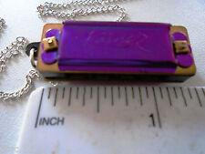 COLLIER Pendentif HARMONICA véritable instrument miniature - plusieurs coloris