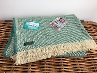 TWEEDMILL TEXTILES RECYCLED WOOL MIX JADE GREEN PICNIC/ CAR BLANKET THROW RUG