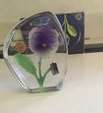 Cristal D' Arques France Art Collection 24% Lead Crystal Pansy FlowerPaperweight