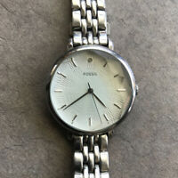 Women's Fossil ES3858 Wrist Watch-New Batt.-Patterned Dial-Faceted Crystal Bin A
