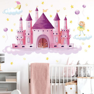 Cartoon Pink Princess Fairy Castle Wall Sticker Child Girl Nursery Art Decal