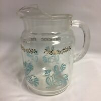 "Vtg Clear Glass Pitcher W Ice Lip Turquois Flower Hand Blown 7.5"" Tall EUC"