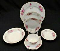 Yamaka China Pictured Rose 7 Piece Place Setting Japan White w/ Rose Flowers Vtg