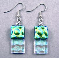 """DICHROIC Glass EARRINGS Lime Green & Clear Rectangle Bubbles Dangle Surgical 1"""""""