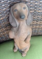 Sandicast Original Size Smooth Red Dachshund Sculpture, Sitting Pretty Signed