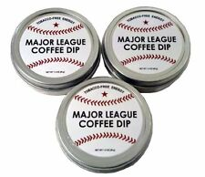3 Pack Major League Baseball Coffee Dip Chewing Tobacco FREE Energy mlb Bat Ball
