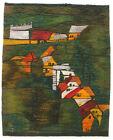 HILLSIDE Large Modernist Tapestry / Wall Hanging Vintage Polish Folk Art Textile