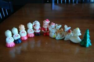 Vintage Christmas Candles - Lot of 11 - Choir Tree Santa Snowman Rudolph GURLEY