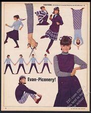 1964 Evan Picone purple dress striped shirt plaid skirt vintage fashion print ad