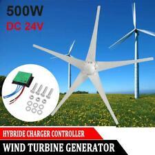 DC 24V 500W 5 Blades Power Wind Turbine Generator Horizontal + Charge Controller