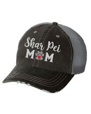Women's Embroidered Dog Mom Distressed Baseball Cap