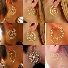 Women Tribal Boho Style Jewelry Dangle Hoop Earrings Brass Circles Round Spiral