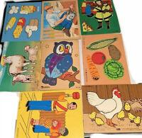 Lot of 8 Wooden Puzzles Preschool PreK Kindergarten Vintage