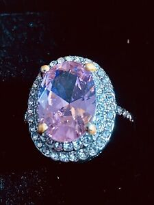 Womans Size O/P Pink Topaz And CZ Silver Ring