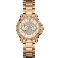 Guess Womens Sassy Rose Gold Stainless Steel Beige Dial W0705L3 Ladies Watch
