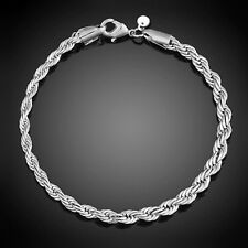 HR- Women 925 Sterling Silver Twist Bangle Cuff Charm Bracelet Clasp Jewelry San