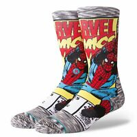 STANCE - Marvel Spiderman Comic Crew Socks in Grey - Comics Movies - OFFICIAL