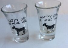 Vtg Pair 2 Happy Days Are Here Again Donkey Democratic Political Shot Glass