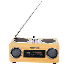Portable Hand-made Mini Bamboo Wood Boombox Sound Speaker With Radio Function