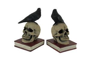 Evil Omen Raven On Skull Perch Decorative Bookend Set