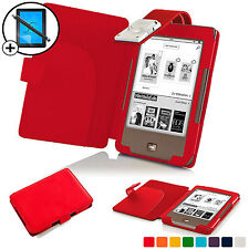 Red Leather Smart Case Cover with LED Light for Tolino Page Scrn Prot & Stylus