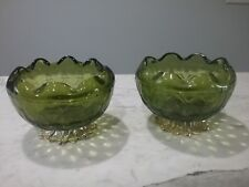 Set of Bowls Emerald Vintage Round Compote Footed Scalloped Brass Pedestal Base