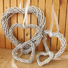 Rustic Grey Willow Wicker Hanging Heart Wreath Home Wedding Easter Christmas