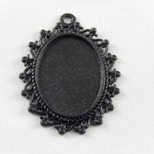 12pcs Black Color Alloy Oval Cameo Setting Charm Pendant 25*18mm 37816